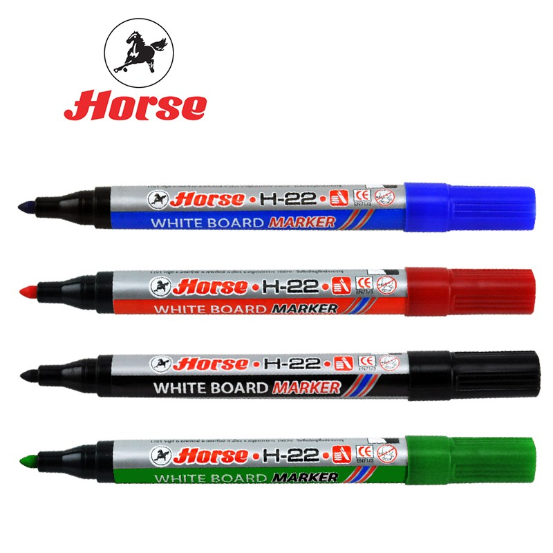 ปากกาไวท์บอร์ดหัวกลม ตราม้า H-22 สีแดง 2 มม.