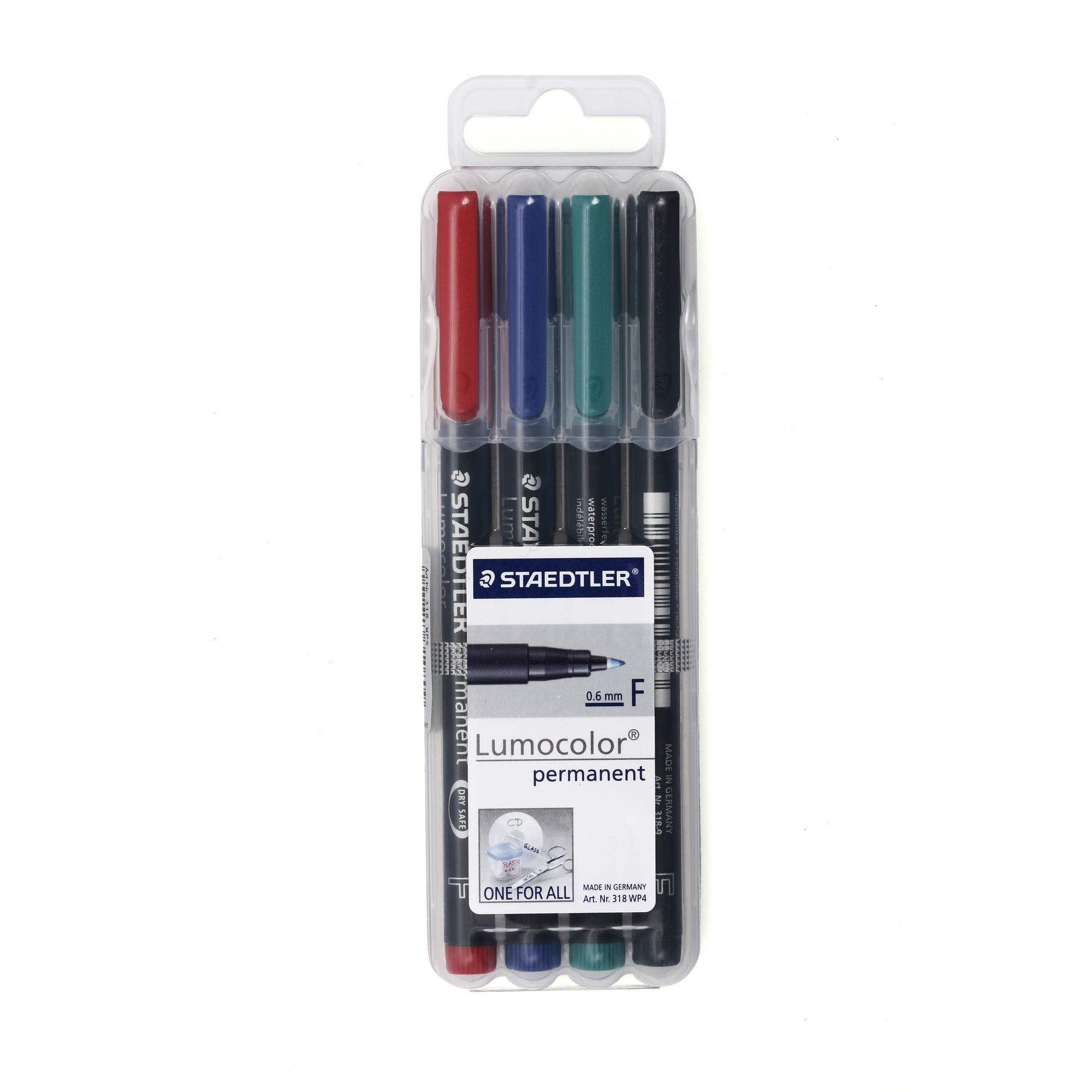 ปากกาเขียนแผ่นใส ลบไม่ได้ Staedtler 318-WP4 (F) ชุด 4 สี 0.6 มม.