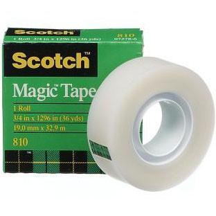 เทปขุ่นแกน 1 นิ้ว Scotch Magic Tape 810 3/4 นิ้วx36 หลา