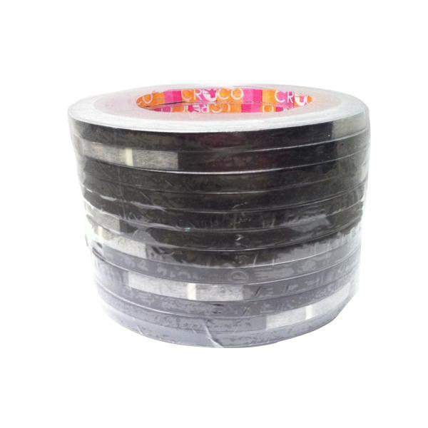 เทปตีเส้น Croco PVC สีดำ 5 มม.x9 หลา