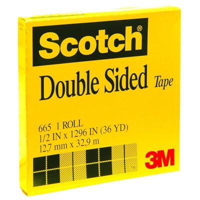 เทปใสกาวสองหน้าแกน 3 นิ้ว Scotch 665 1/2 นิ้วx36 หลา