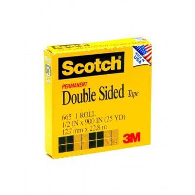 เทปใสกาวสองหน้าแกน 1 นิ้ว Scotch 665 1/2 นิ้วx25 หลา