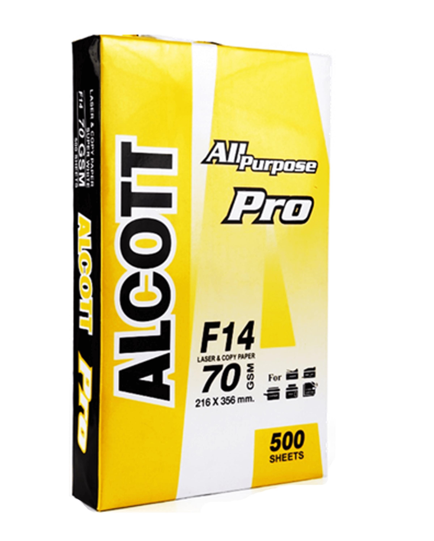 กระดาษถ่ายเอกสาร F14 70 แกรม Alcott เหลือง (1x500)