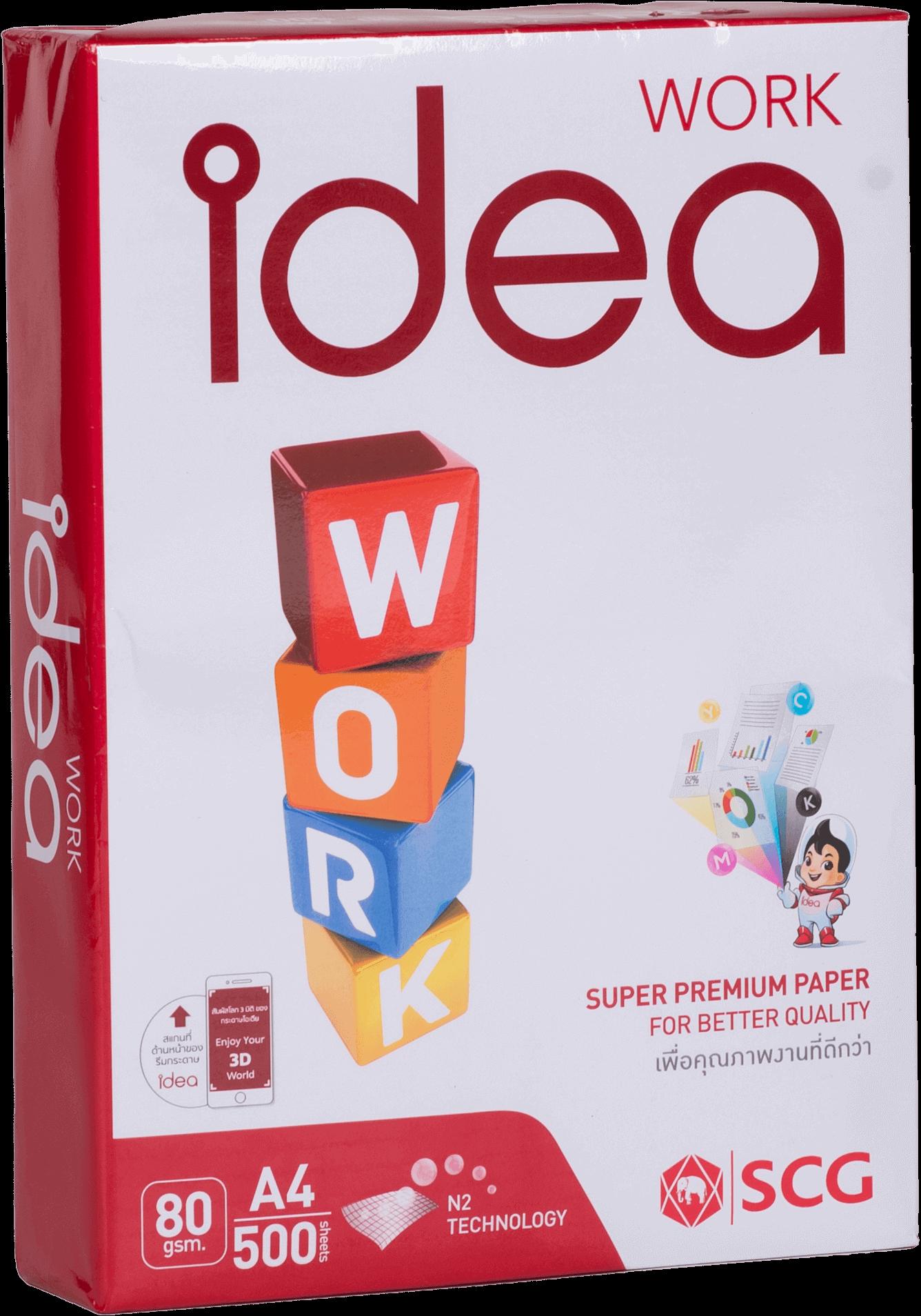 กระดาษถ่ายเอกสาร Idea Work A4 80แกรม (5 รีม/กล่อง)