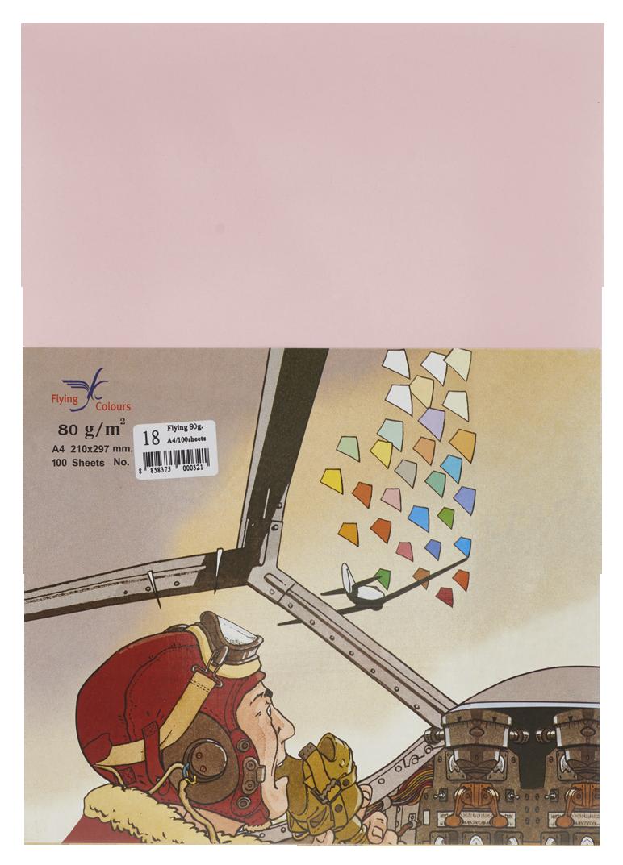 กระดาษถ่ายเอกสารสี Flying 18 สีชมพู A4 / 80 แกรม (1x100)