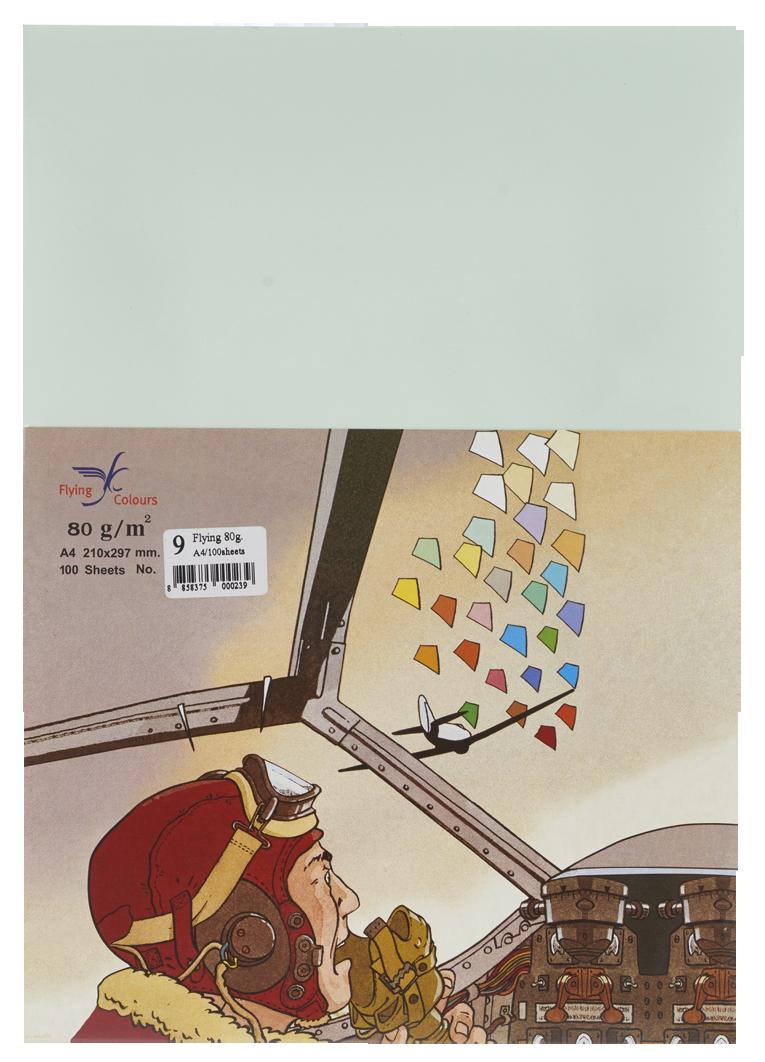 กระดาษถ่ายเอกสารสี Flying 9 สีเขียวอ่อน A4 / 80 แกรม (1x100)
