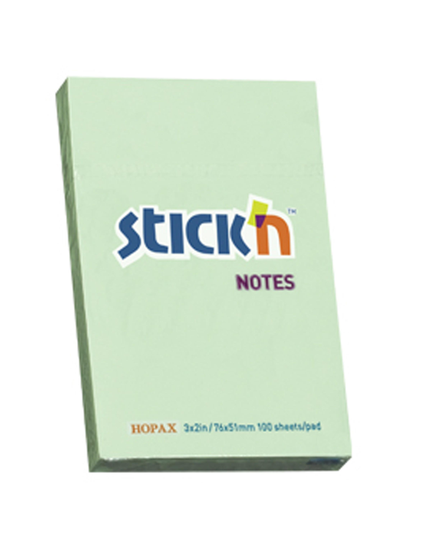 กระดาษโน๊ตกาวในตัว Stick'n 21147 สีเขียว 3x2 นิ้ว (1x100)
