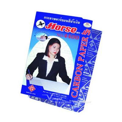 กระดาษคาร์บอน ตราม้า 4400 สีน้ำเงิน 21x33cm (100 แผ่น)
