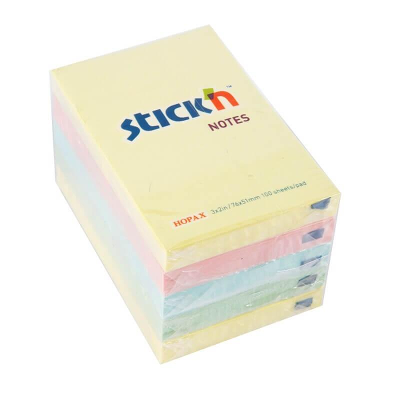 กระดาษโน๊ตกาวในตัว Stick'n 3x2 นิ้ว สีพาสเทลคละสี