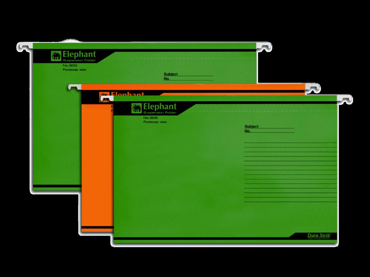 แฟ้มแขวนกระดาษ ตราช้าง 905 สีเขียว F4