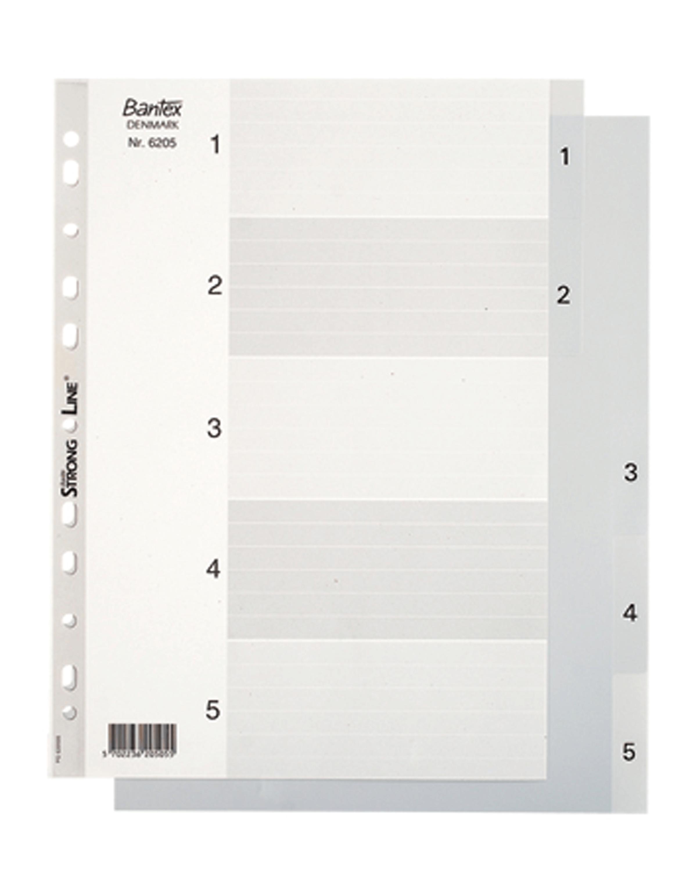 อินเด็กซ์พลาสติก 1-5 Bantex 6205 สีเทา A4