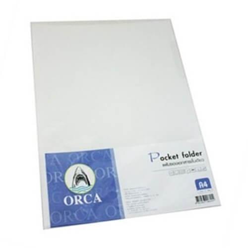 แฟ้มซองพลาสติก Orca 1 ชั้น สีขาว  A4