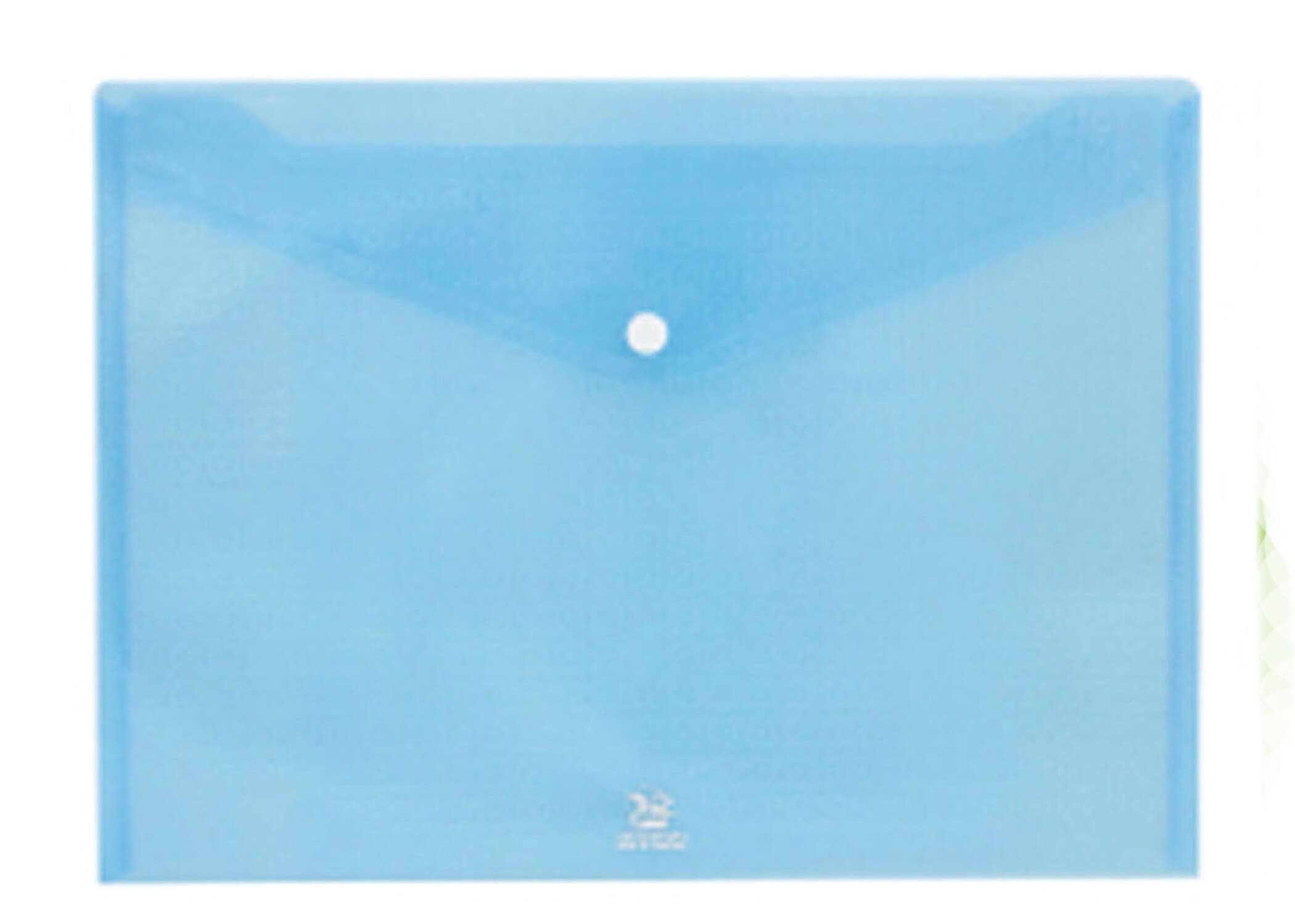 ซองกระดุมพลาสติก flamingo 9383 A4 สีฟ้า