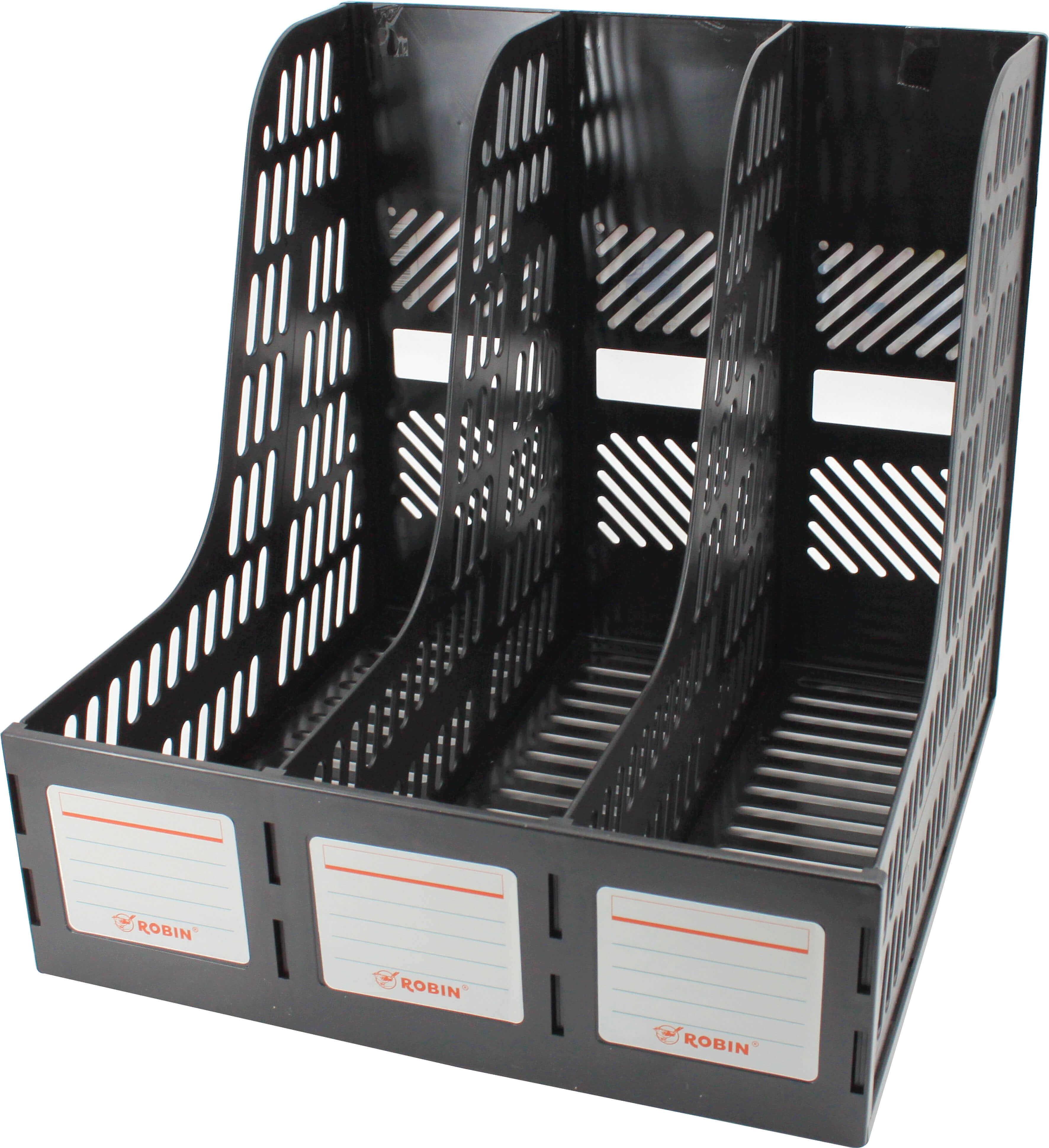 กล่องใส่เอกสารพลาสติก 3 ช่อง Robin 123 สีดำ