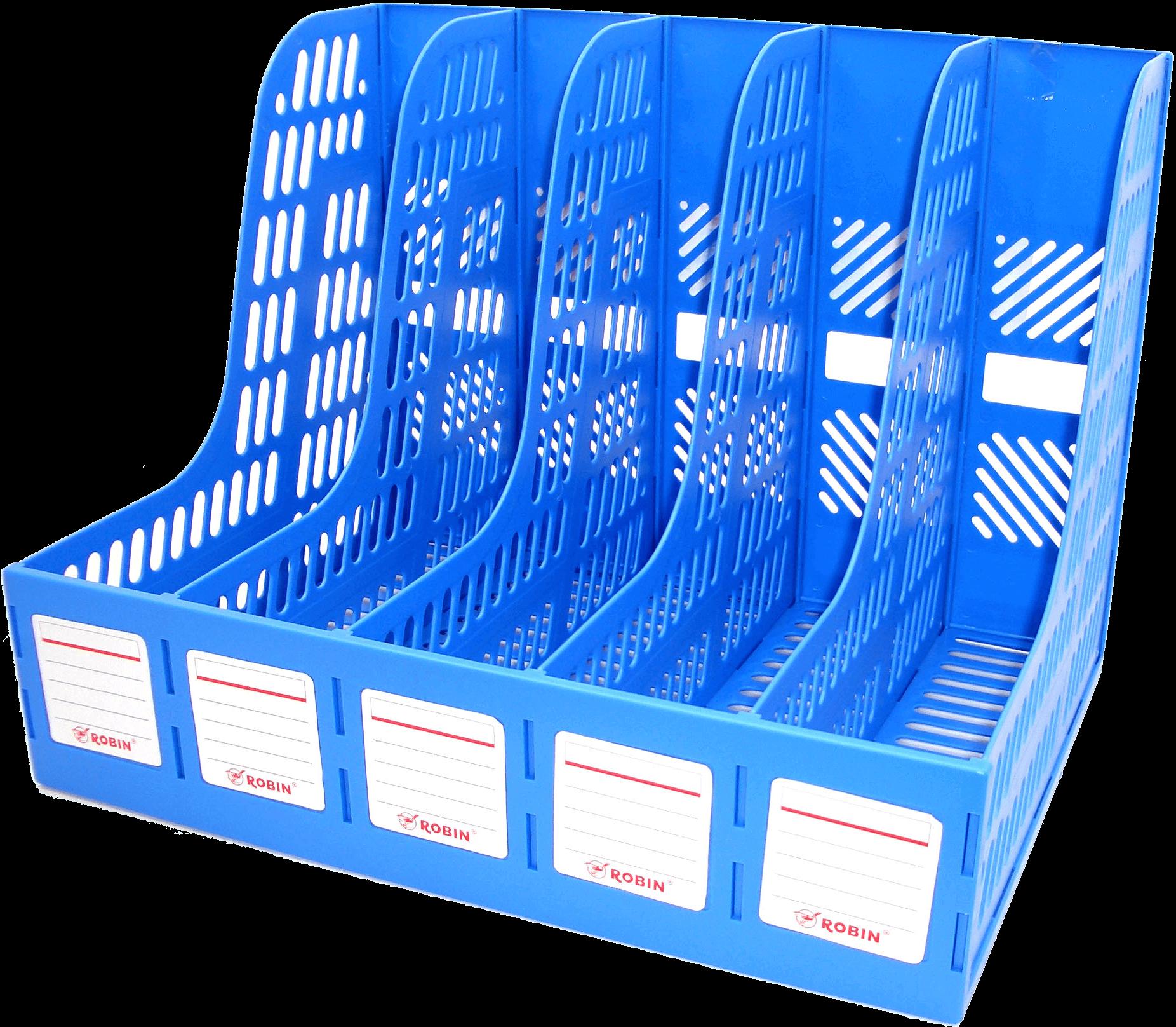 กล่องใส่เอกสารพลาสติก 5 ช่อง Robin 125 น้ำเงิน