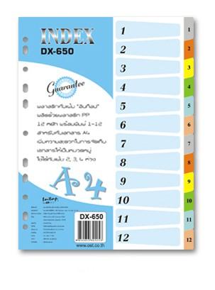 อินเด็กซ์พลาสติก 12 หยัก 1-12 Intop DX-650 คละสี A4