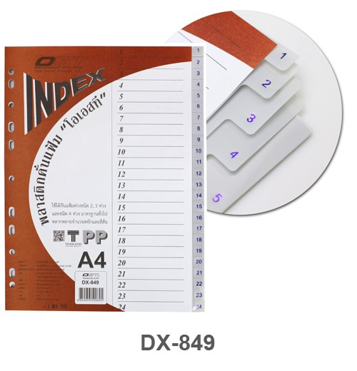 อินเด็กซ์พลาสติก 24 หยัก Intop DX-849 สีเทา