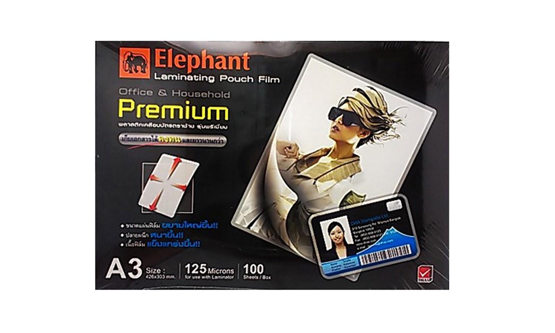 พลาสติกเคลือบบัตร ตราช้าง Premium 125 ไมครอน A3 (1x100)