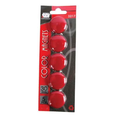 เม็ดแม่เหล็ก SDI 3 ซม. สีแดง 5 เม็ด/แพ็ค