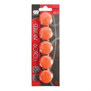 เม็ดแม่เหล็ก SDI 3 ซม. สีส้ม 5 เม็ด/แพ็ค