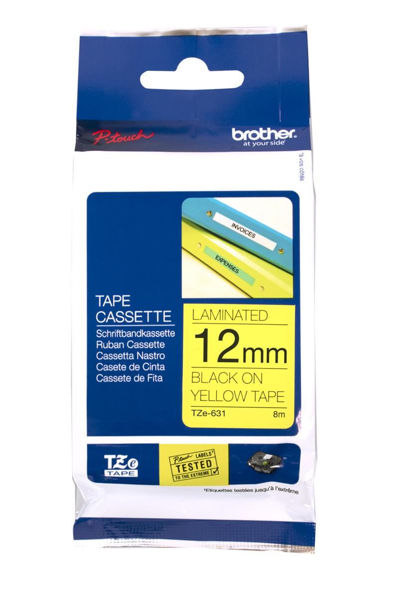 เทปพิมพ์อักษรเคลือบพลาสติก Brother TZe-631 เทปสีเหลือง/อักษรสีดำ 12 มม.
