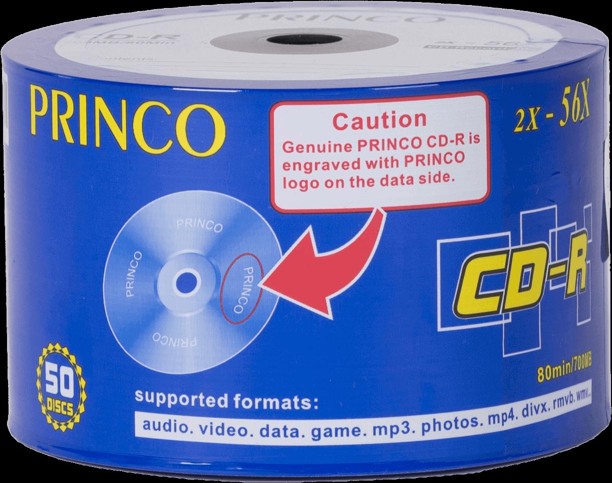 CD-R ชนิดแผ่นเปลือย PRINCO 2X-56X 700MB/80MIN (1X50)