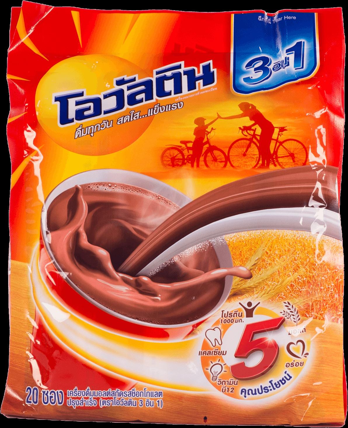 เครื่องดื่มมอลต์รสช็อกโกแลต โอวัลติน สูตรผสมนมโค 3in1