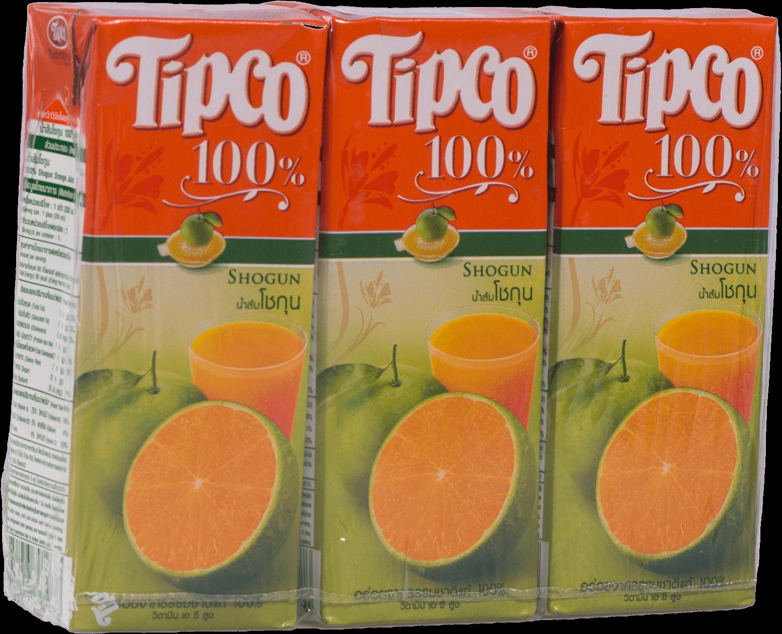 น้ำส้มโชกุน Tipco 100% 200ml. (1x3)