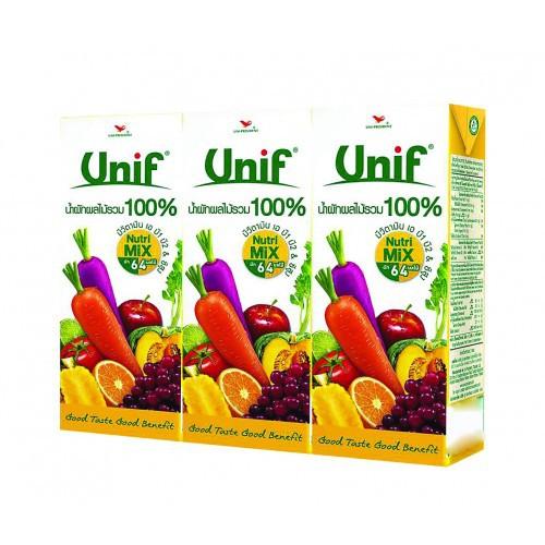 Unif น้ำผักผลไม้ร่วม 100%  100% 200ml แพ็ค 3 กล่อง