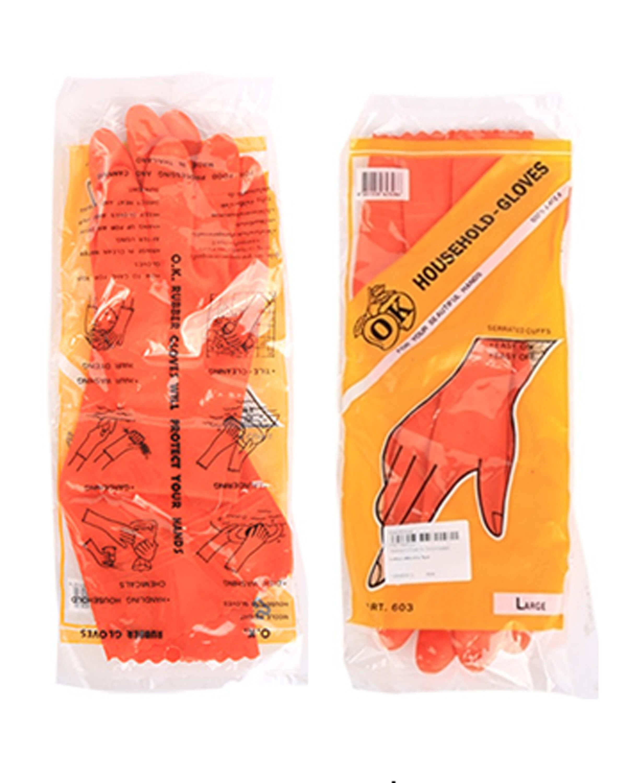 ถุงมือยาง OK สีส้ม (ไซน์ใหญ่)