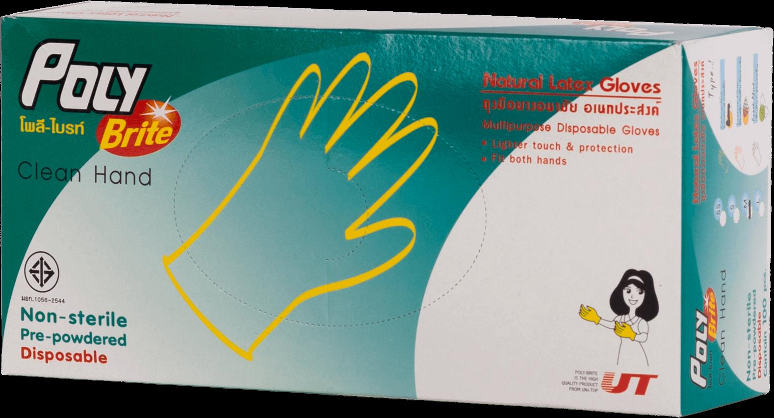 โพลี-ไบร์ท ถุงมือยางอนามัย ไซส์ L