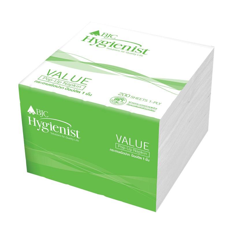 กระดาษเช็ดปาก BJC Hygienist Value Pop-Up 200แผ่น (1x12) 33320