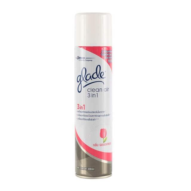 สเปรย์ปรับอากาศ Glade Clean Air 3 in 1 กลิ่นการ์เด้นเฟรช 300ml (ฆ่าเชื้อ H1N1)