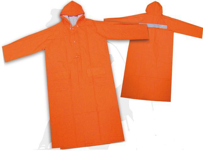 เสื้อกันฝนโค้ทส้ม คาดแถบสะท้อนแสง 1 แถบ