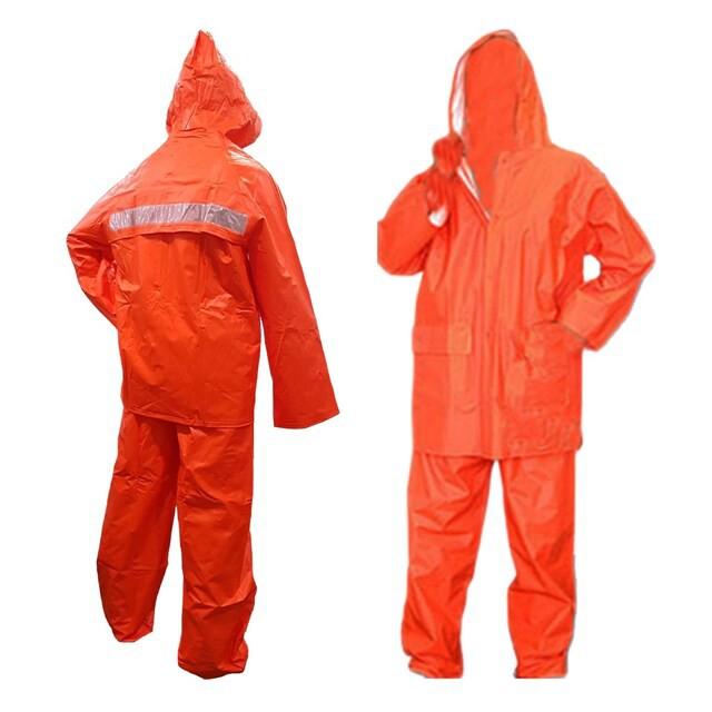ชุดเสื้อกันฝน พร้อมกางเกง สีส้ม