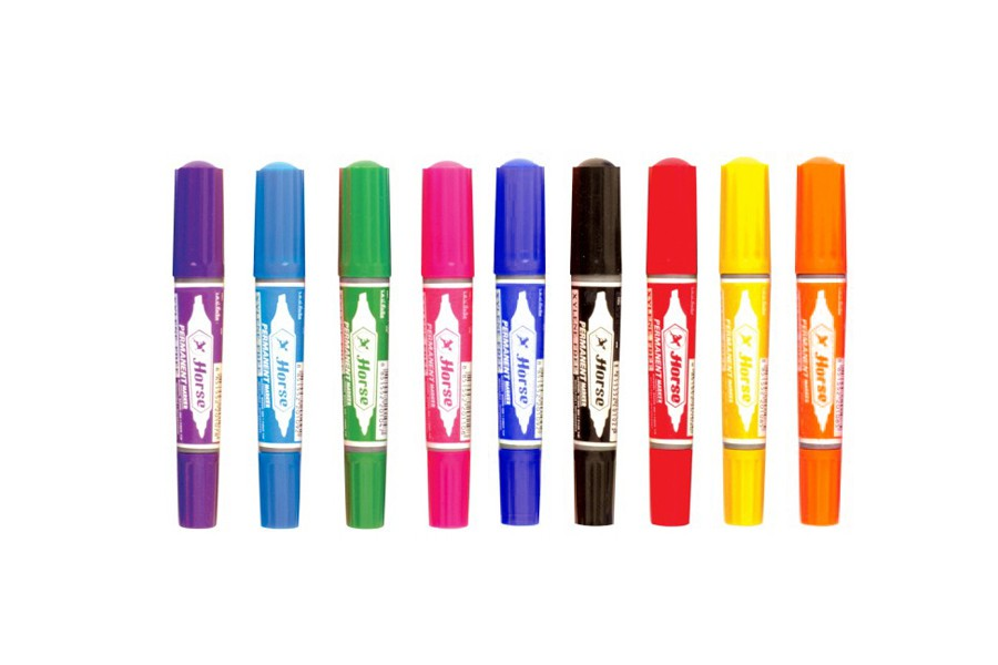 ปากกาเคมี2 หัว ตราม้า สีชมพู 2 มม./1-5 มม.