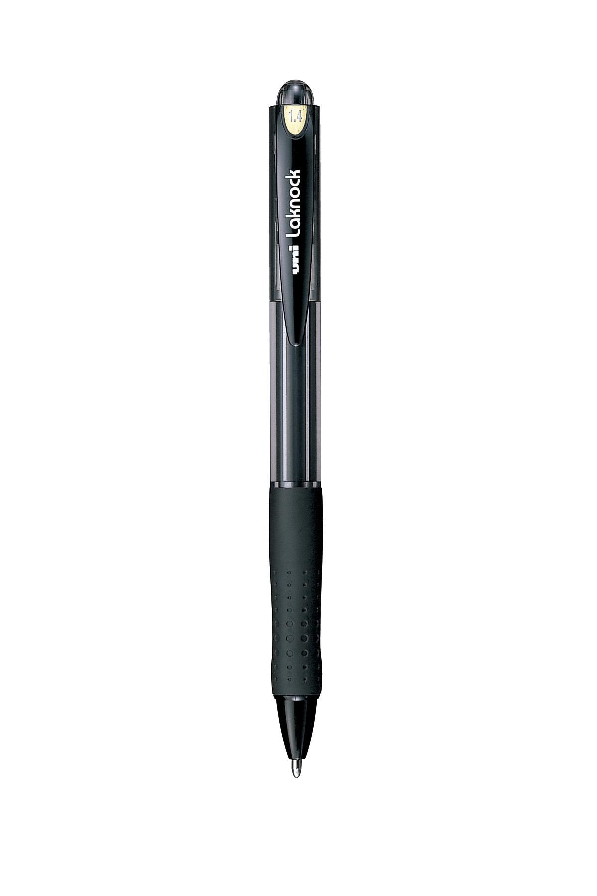 ปากกาลูกลื่นแบบกด uni Laknock SN-100 สีดำ 1.4 มม.