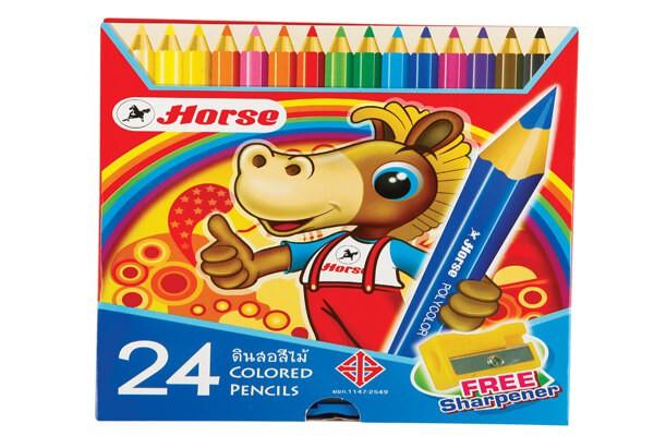 สีไม้ด้ามยาว ตราม้า H-2080 24 สี (กล่องกระดาษ)