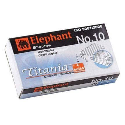 ลวดเย็บกระดาษ ตราช้าง Titania No.10 (1000 เข็ม/กล่อง)