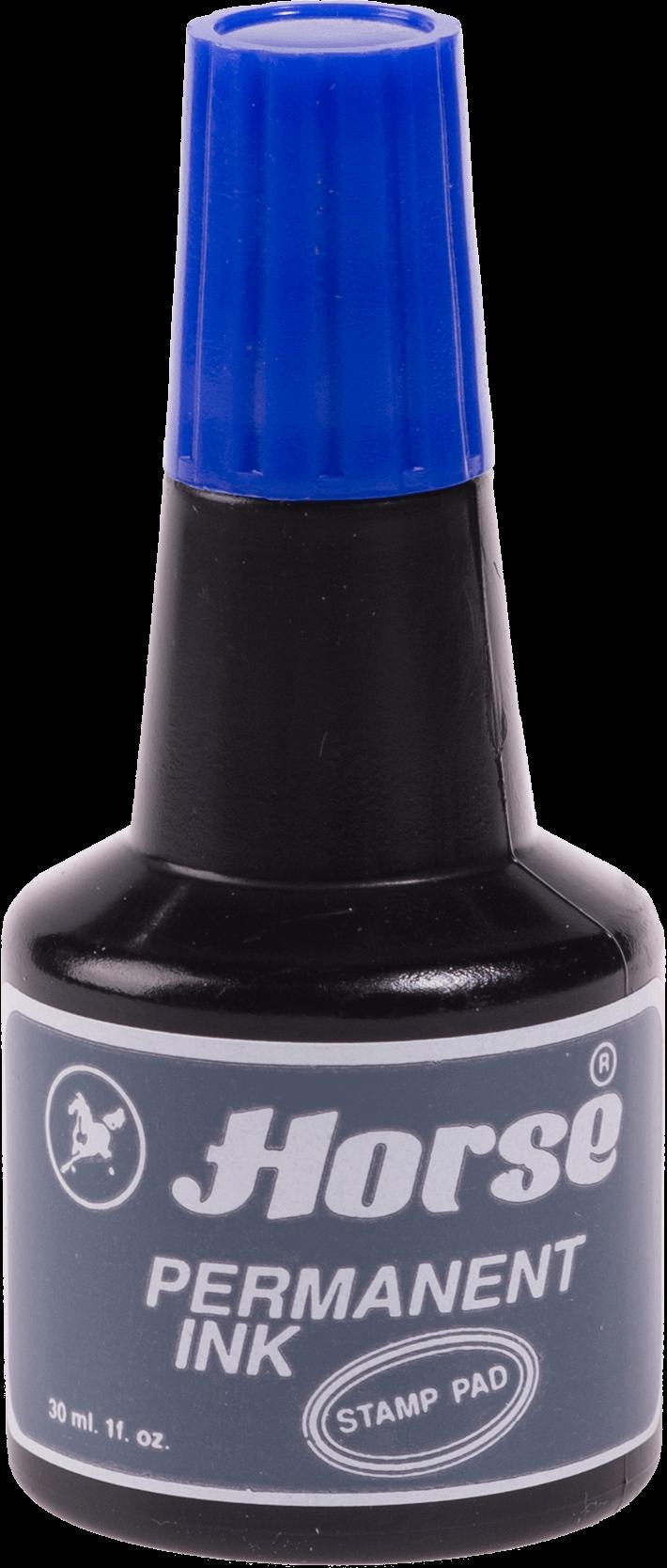 หมึกเติมแท่นประทับตราชนิดกันน้ำ ตราม้า สีน้ำเงิน 30 มล.
