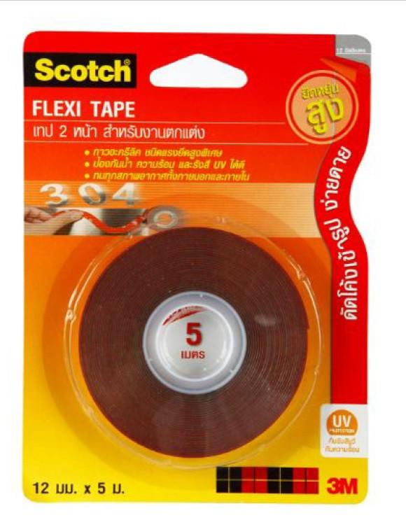 เทป 2 หน้า Scoth สำหรับตกแต่ง 12mmx5m สีแดง
