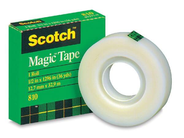 เทปขุ่นแกน 1 นิ้ว Scotch Magic Tape 810 1/2 นิ้วx36 หลา