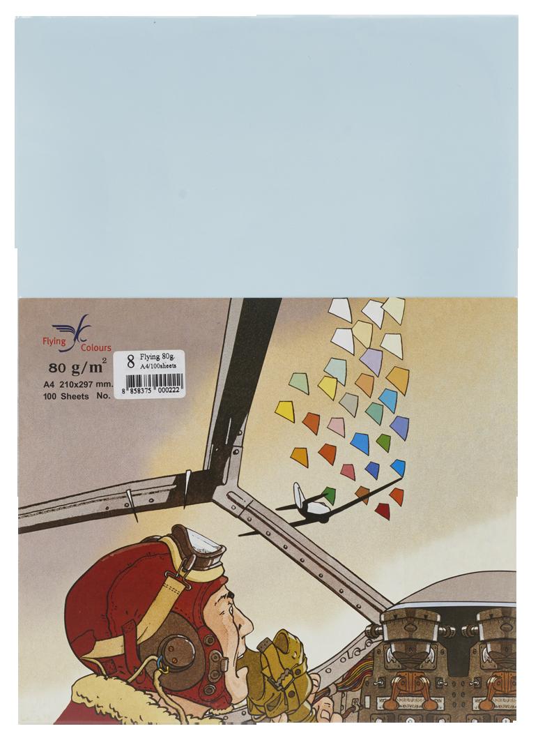 กระดาษถ่ายเอกสารสี Flying 8 สีฟ้าอ่อน A4 / 80 แกรม (1x100)