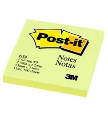 กระดาษโน๊ตกาวในตัว Post-it  สีเหลือง 654 YELLOW