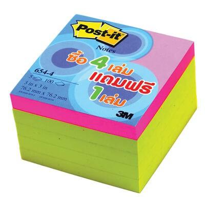 กระดาษโน๊ตกาวในตัว Post-it  รุ่นสุดคุ้ม สีเหลือง  654-4 YELLOW