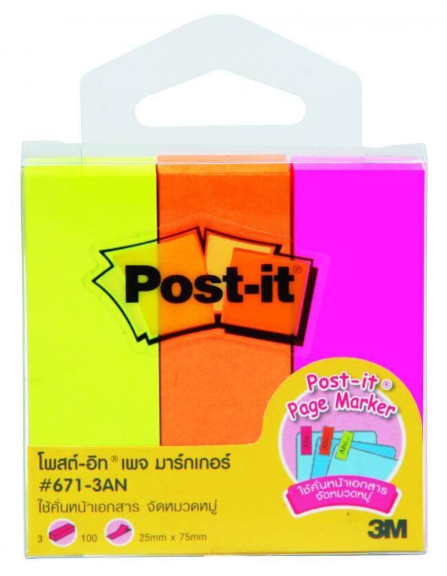 กระดาษโน๊ตกาวในตัว Post-it  เพจ มาร์กเกอร์   671-3AN