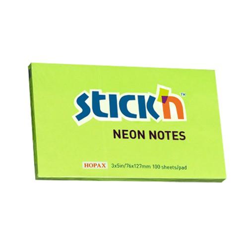 กระดาษโน๊ตกาวในตัว Stick'n 21171 สีเขียวสะท้อนแสง 3x5 นิ้ว (1x100)