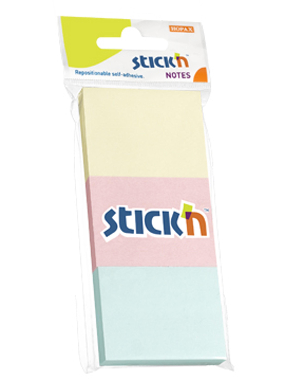 กระดาษโน๊ตกาวในตัว Stick'n 21126 สีคละสี 1.5ซม.x2 ซม. (3x100)