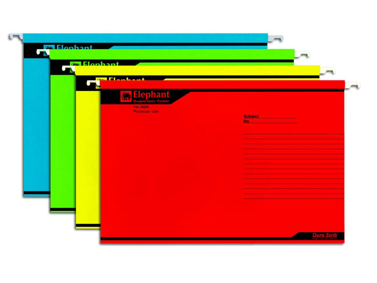 แฟ้มแขวนกระดาษ ตราช้าง 925 สีเหลือง  F4