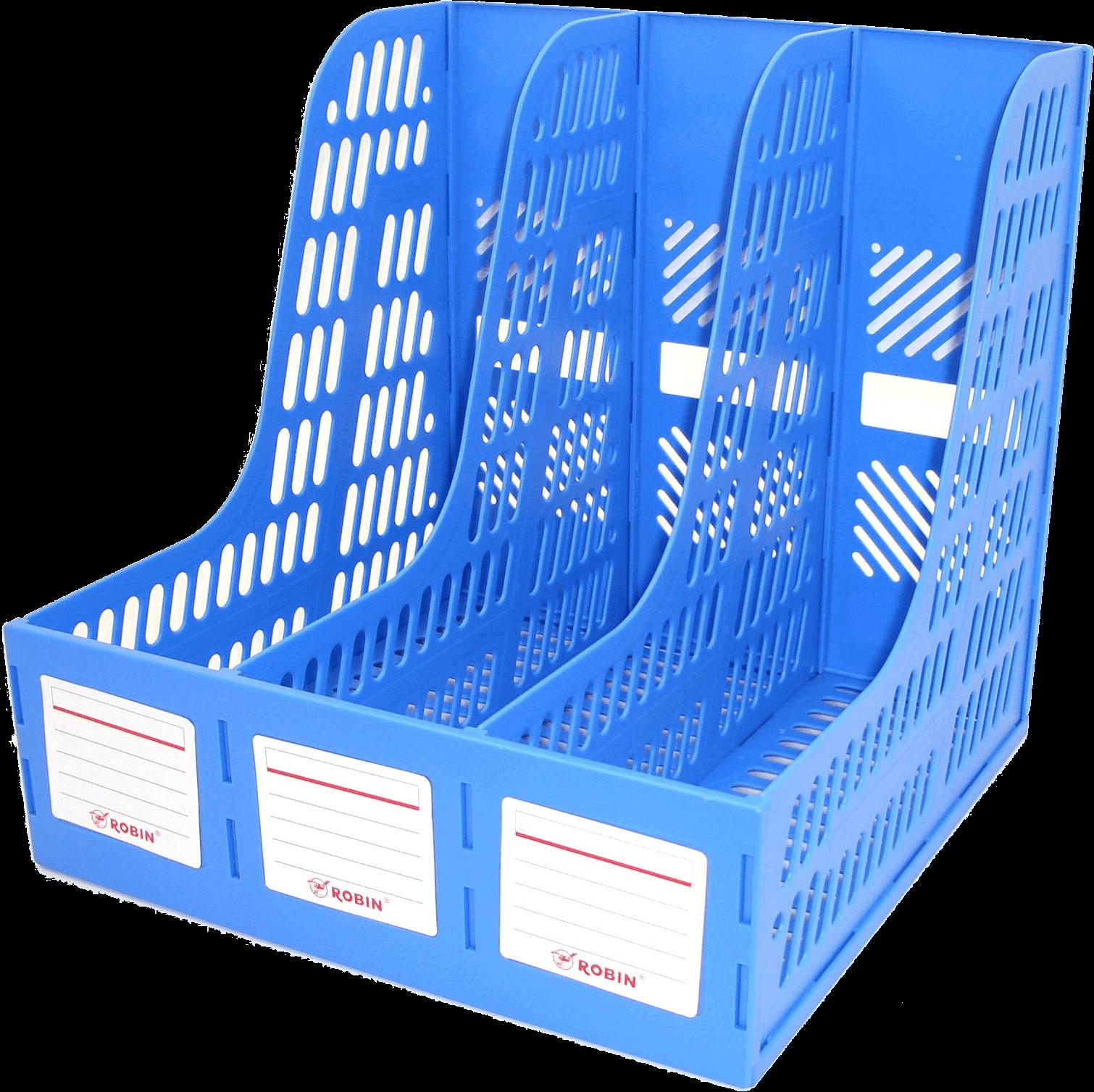 กล่องใส่เอกสารพลาสติก 3 ช่อง Robin 123 สีน้ำเงิน